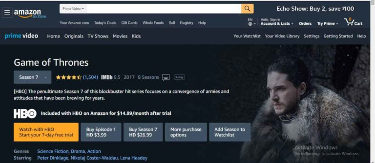 Free Stream Game of Thrones on Amazon Prime Video