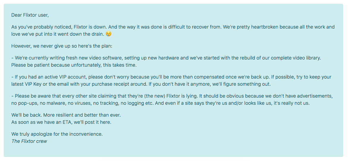 Flixtor Official Statement