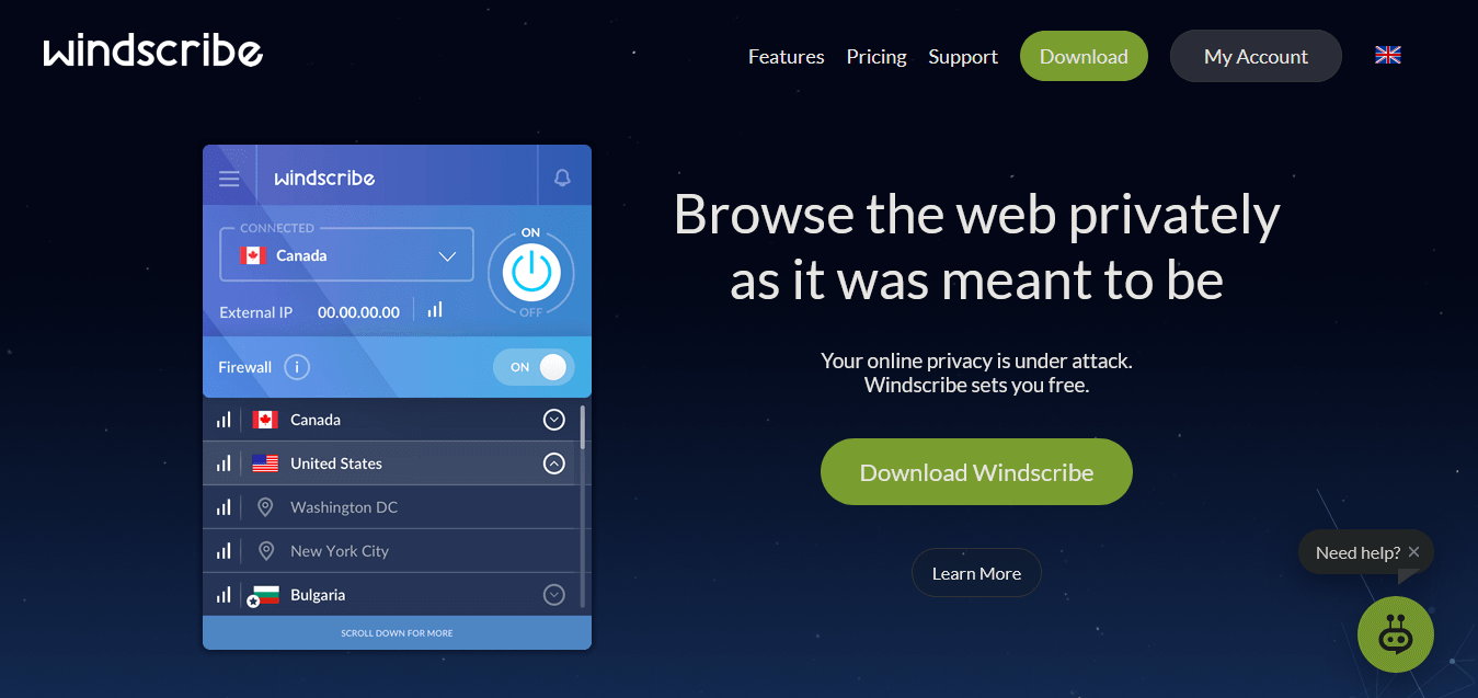 Windscribe More Data Less Restrictions best free VPN for firedtick