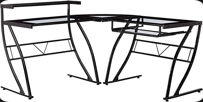 Z-Line Designs Feliz Glass L Desk, Black
