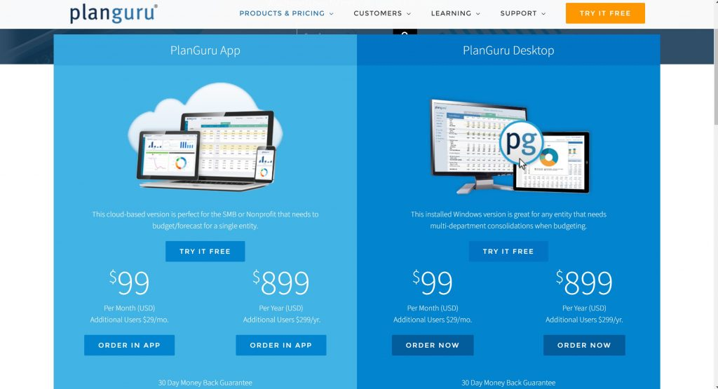 Business budget software- Planguru pricing