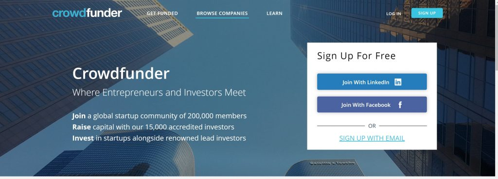 Crowdfunder for startups and small business