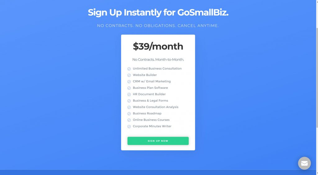 GoSmallBiz pricing plans