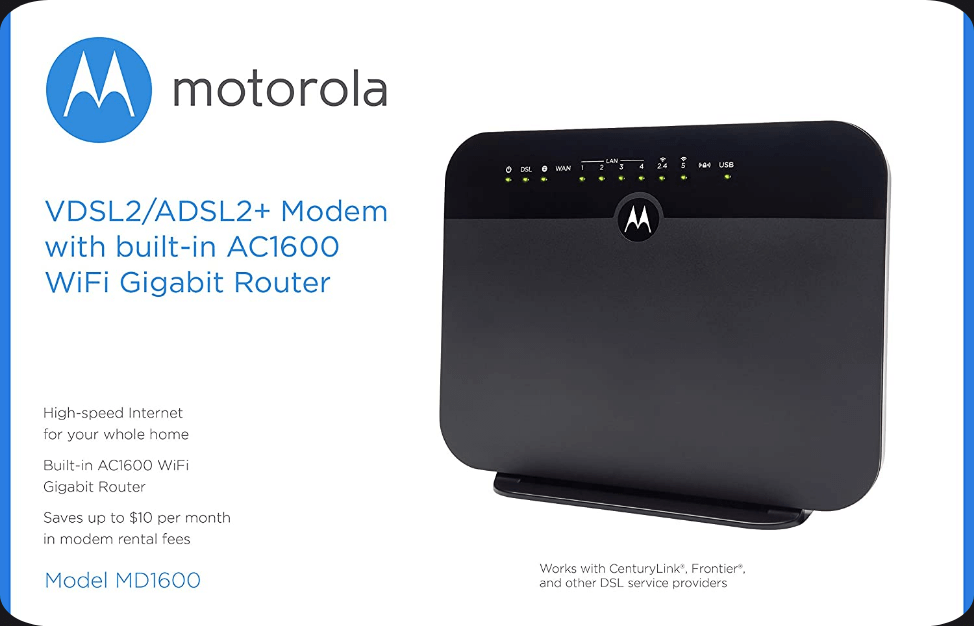 Motorola VDSLADSL Modem & Router Model MD1600