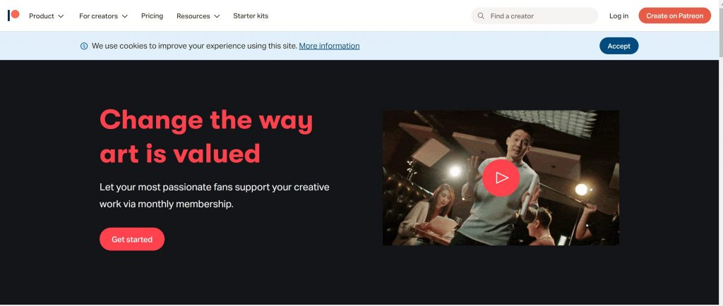 Patreon crowdfunding site for artists