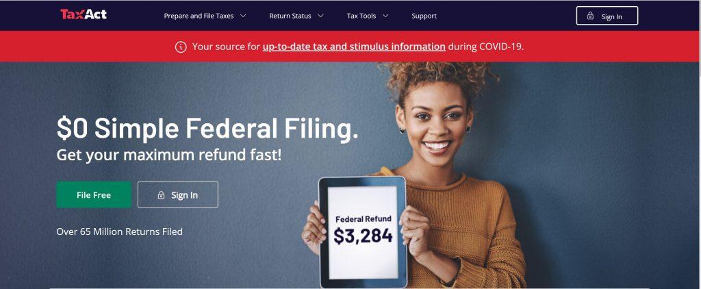 TaxAct online tax filling software