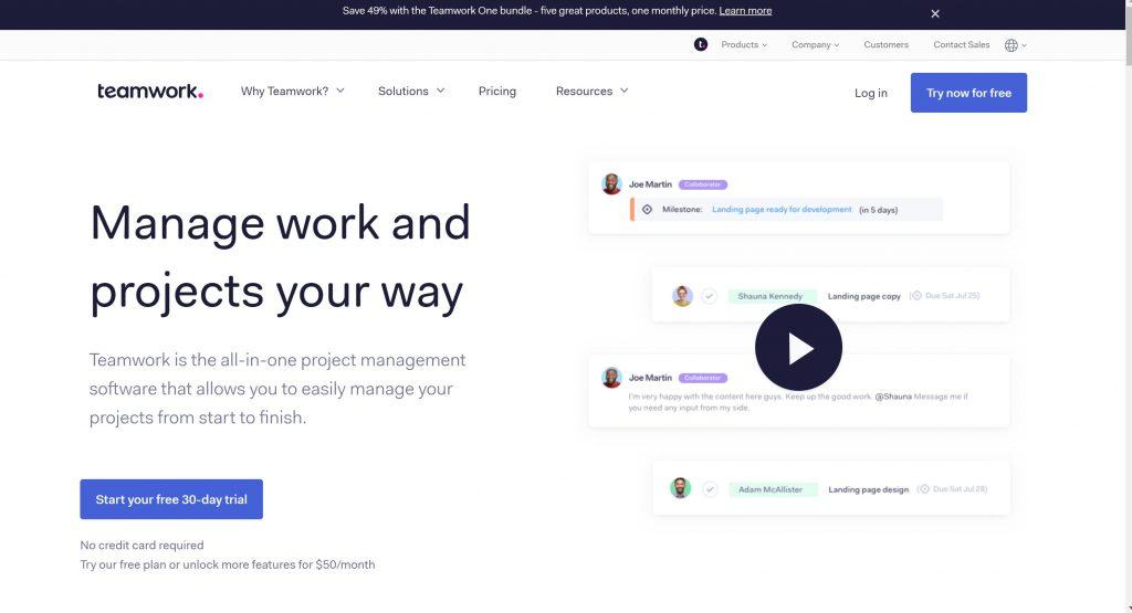 Teamwork- project management software tool