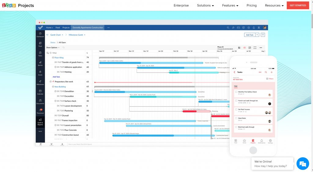 Zoho Project management tool for business