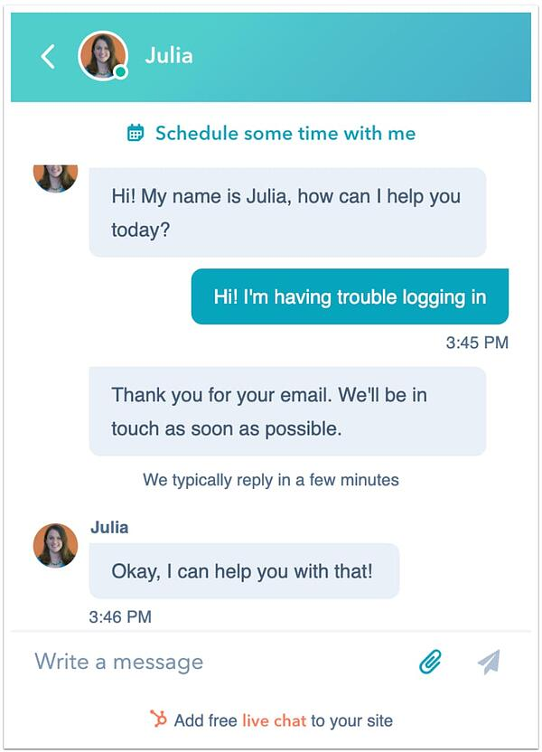HubSpot Chat Support
