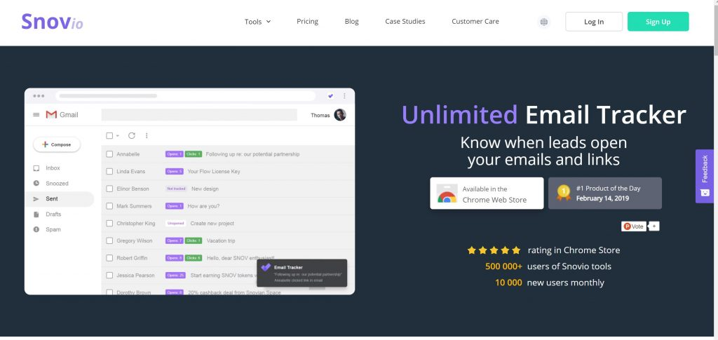 Snovio email tracker tool for gmail and outlook