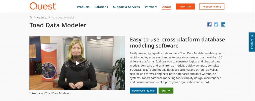 Toad data modeling platform