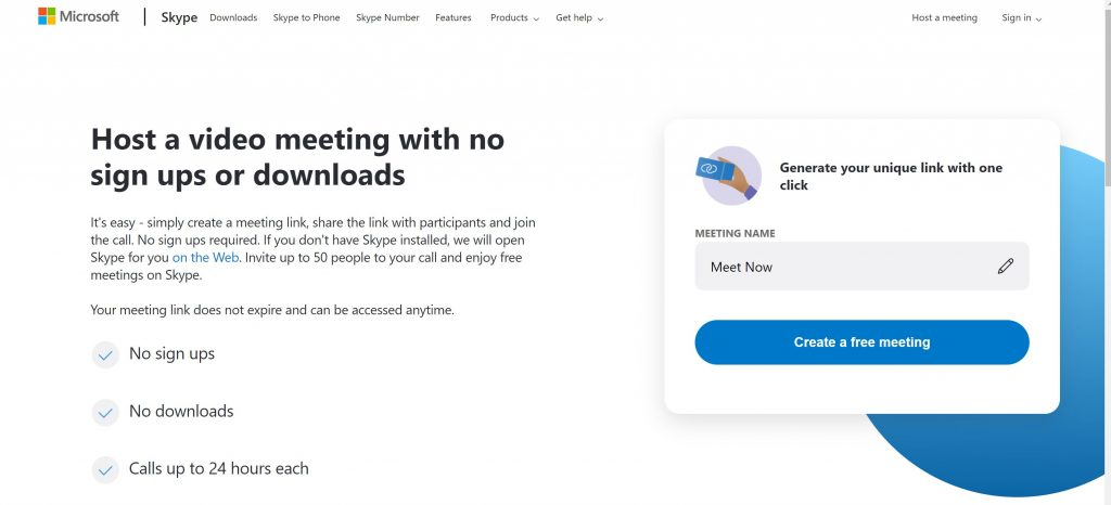 Zoom alternatives- SKype Now Meet