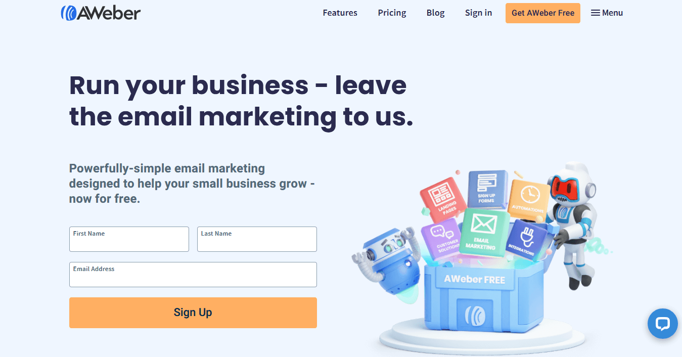 AWeber homepage Simple Email Marketing for Small Businesses