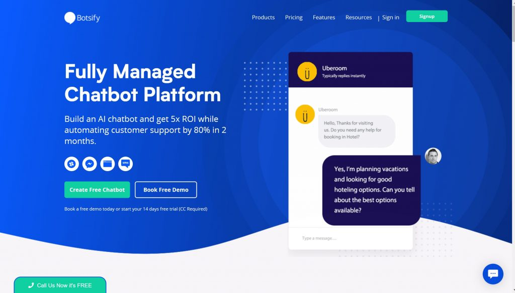 Botsify chatbot software for website