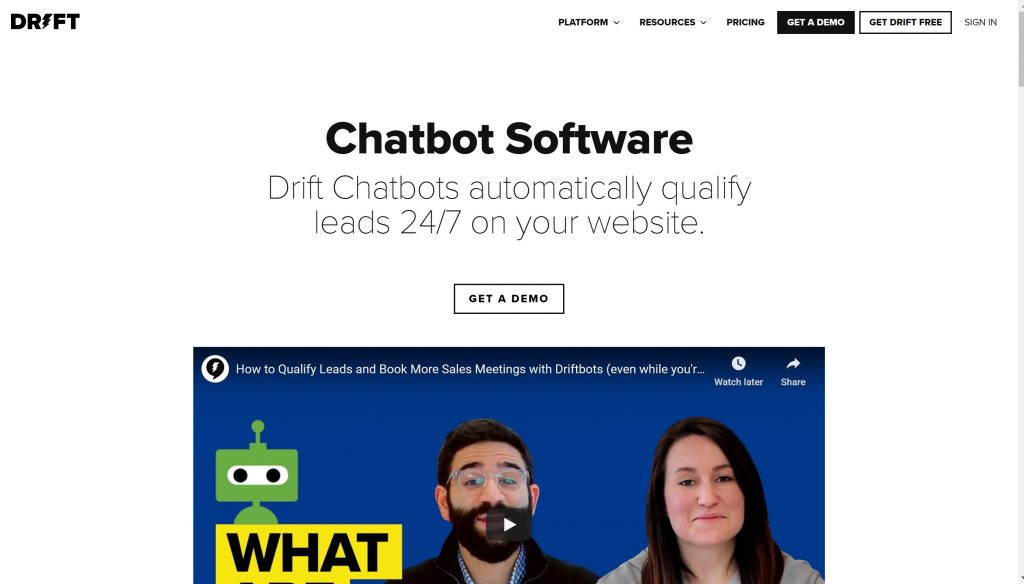 Drift chatbot software tool for conversations
