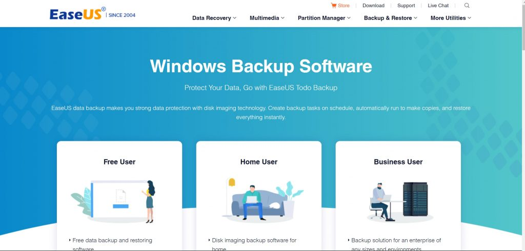 EaseUS back up software for data recovery