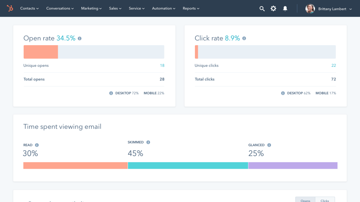 HubSpot Free Marketing Software reports screenshot
