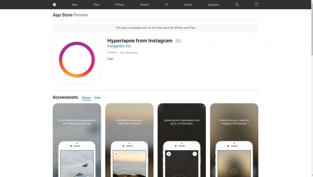 Hyperlapse Instagram video editing app