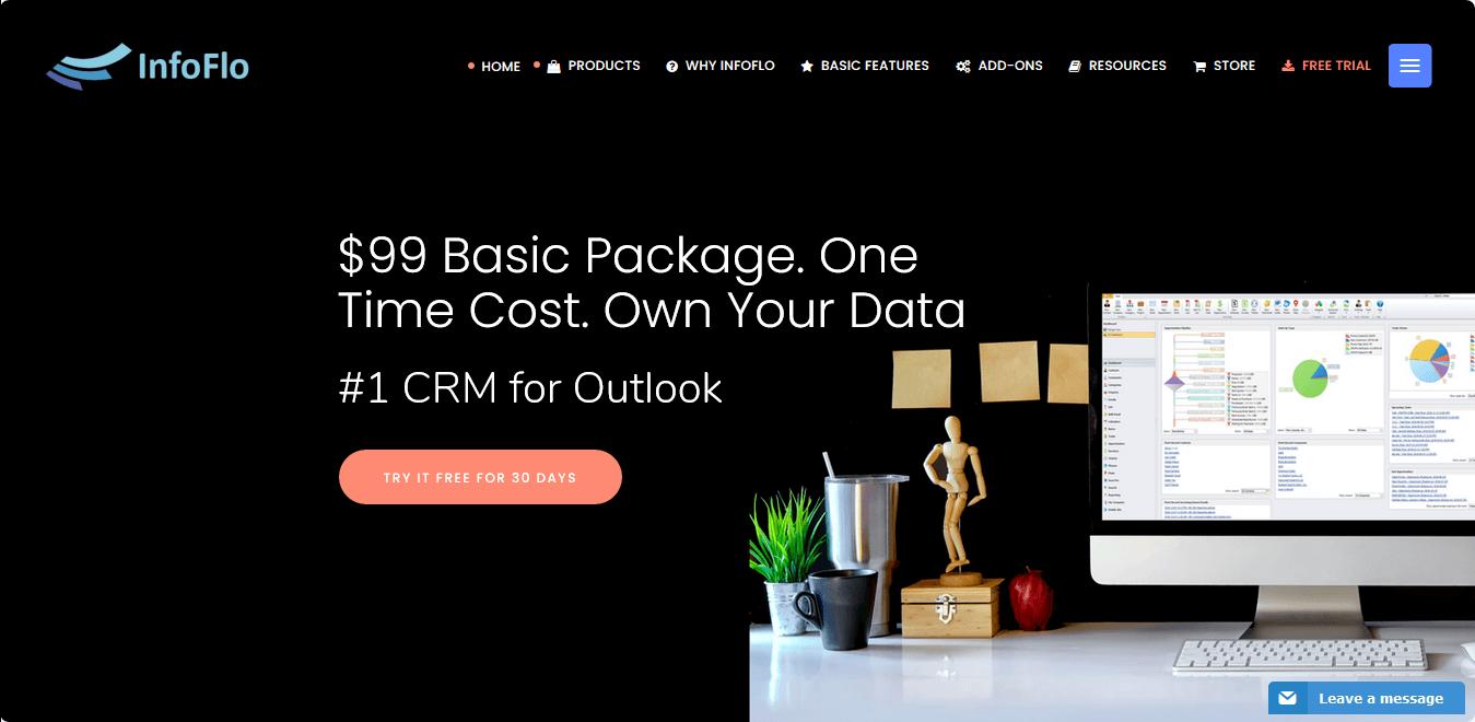 InfoFlo CRM homepage