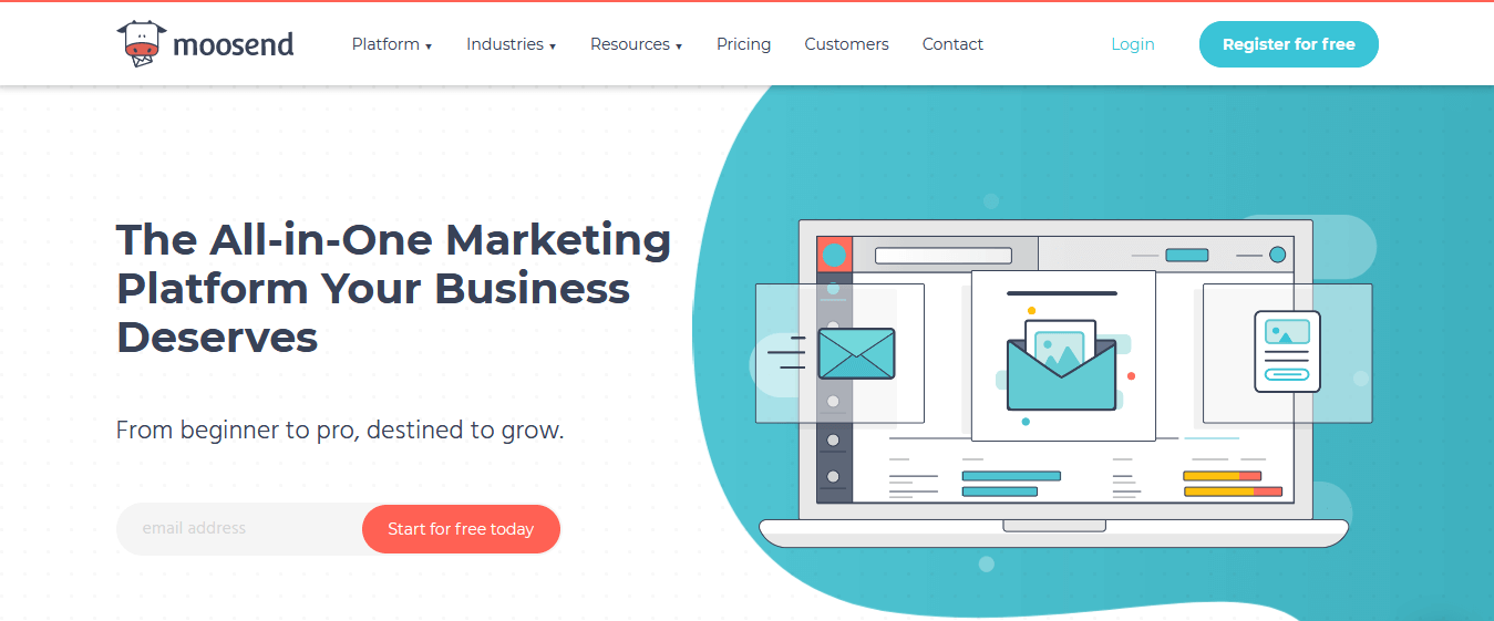 Moosend homepage- One of the Best Visual Email Marketing Services