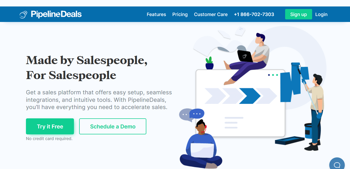 PipelineDeals homepage with users animations