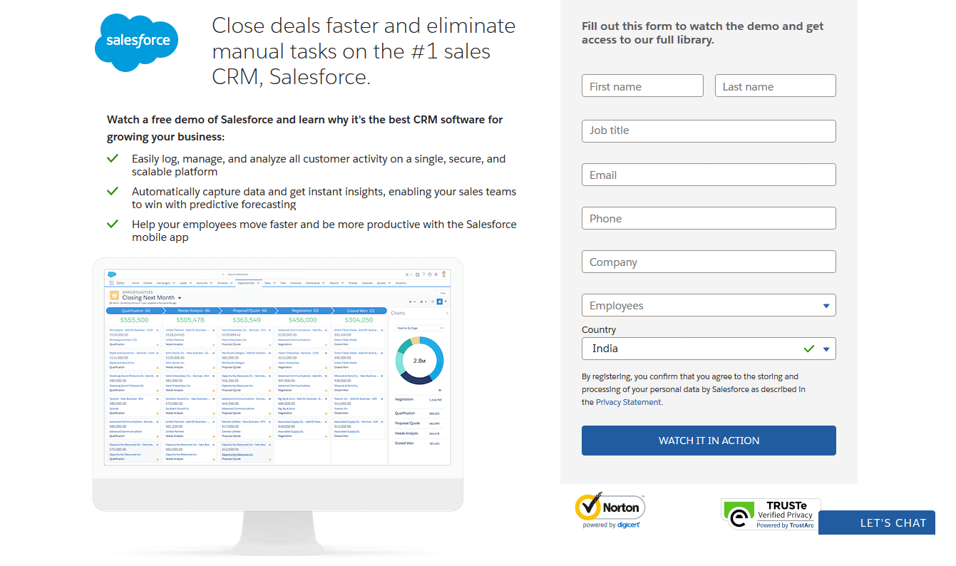 Salesforce CRM homepage with web copy and form