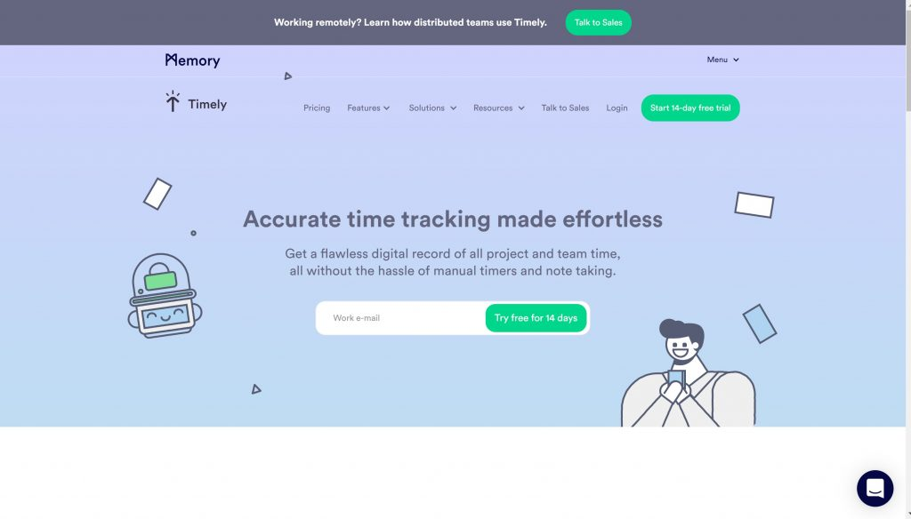 Timely full automatic time tracker app