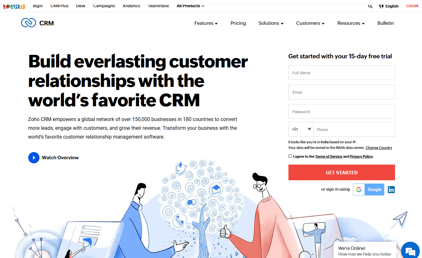 Zoho CRM HOMEPAGE Best customer engagement software for Zoho products user