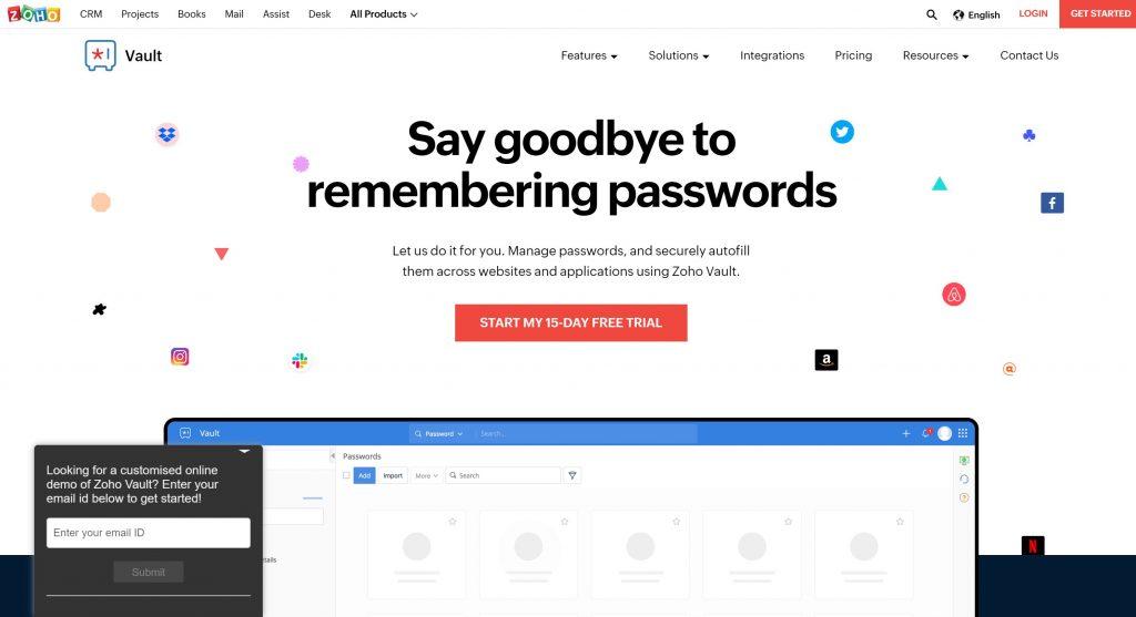 Zoho Vault password manager