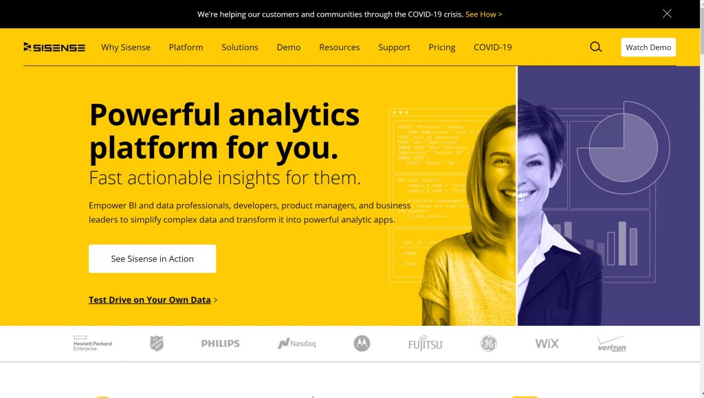 Sisense business intelligence and analytics software