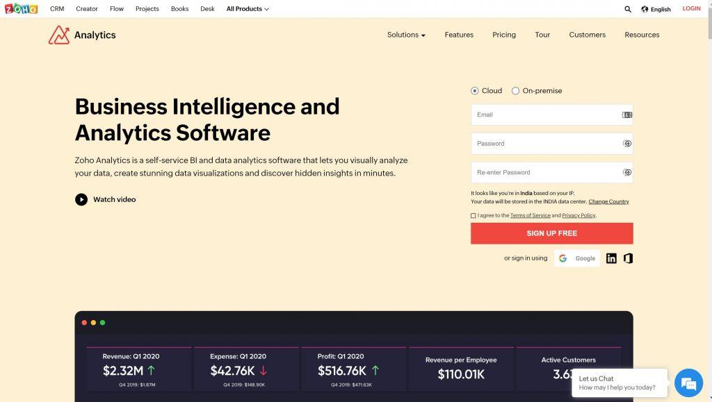 zoho analytics- business intelligence software