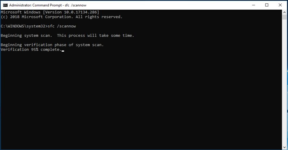 Critical process error windows10- sfcscannow