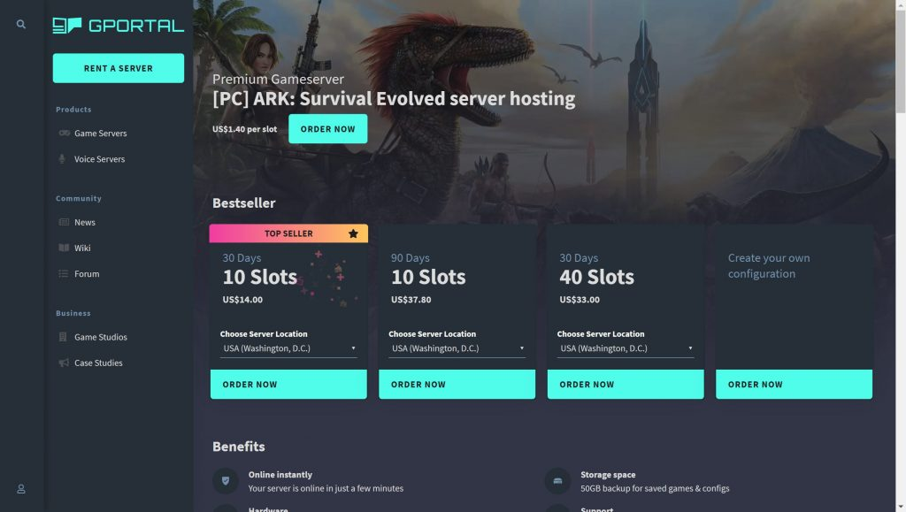 GPortal- ARK Survival evolved server hosting