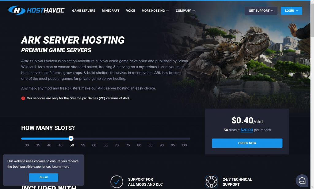 Hosthavoc- premium ARK hosting servers
