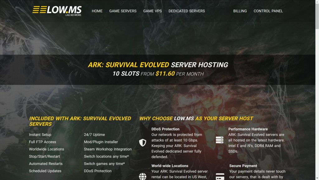 Low.Ms ark server hosting