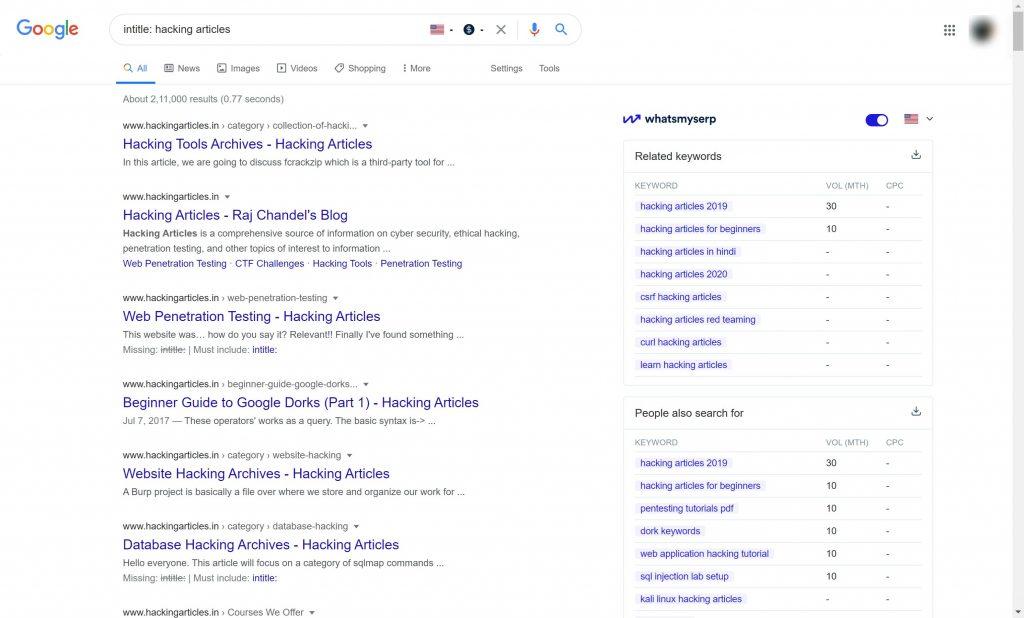 Open source Intelligence tools- Google dorks