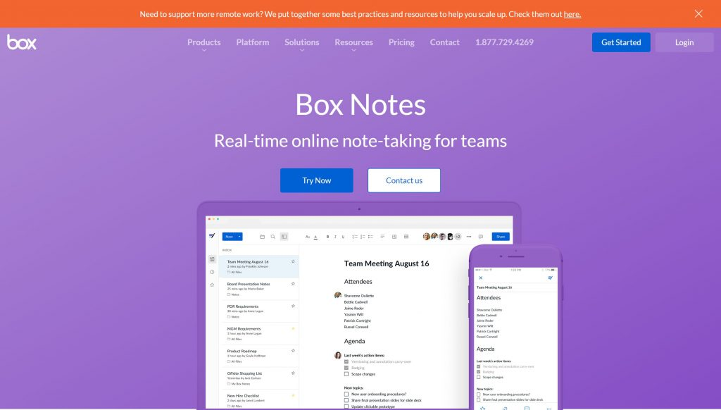 Box Notes- best evernote alternatives