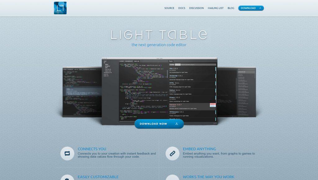Light table editor- alternative of sublime