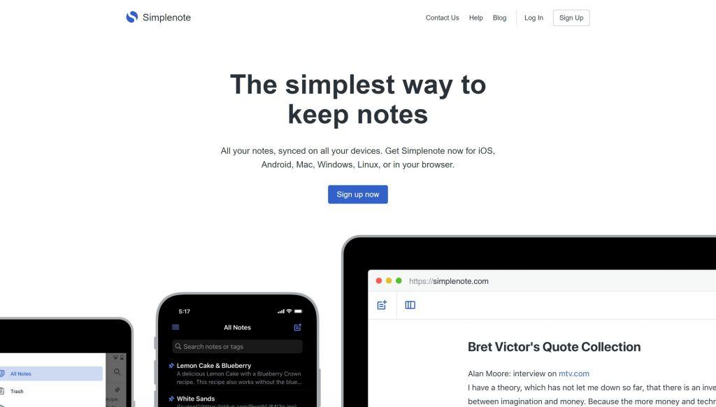 Simplenote- best evernote alternatives