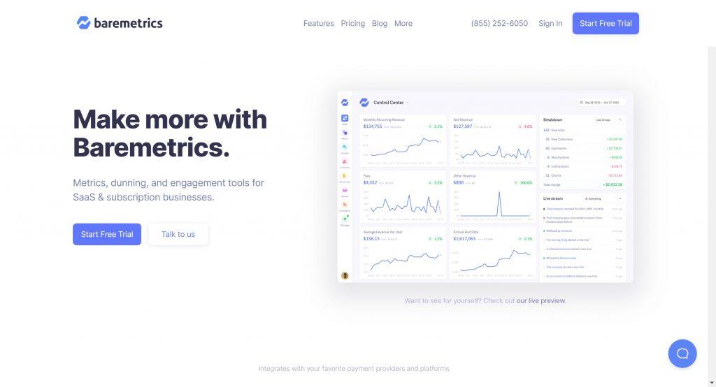 Baremetrics- best subscription management software