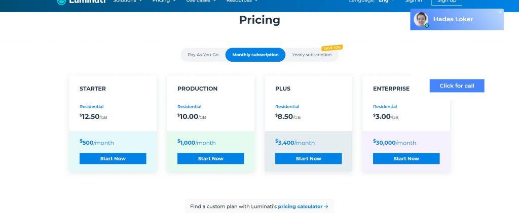 Luminati pricing plans