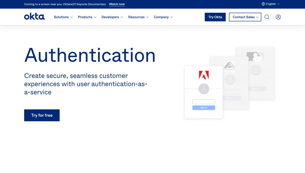 Okta software- best passwordless authentication services