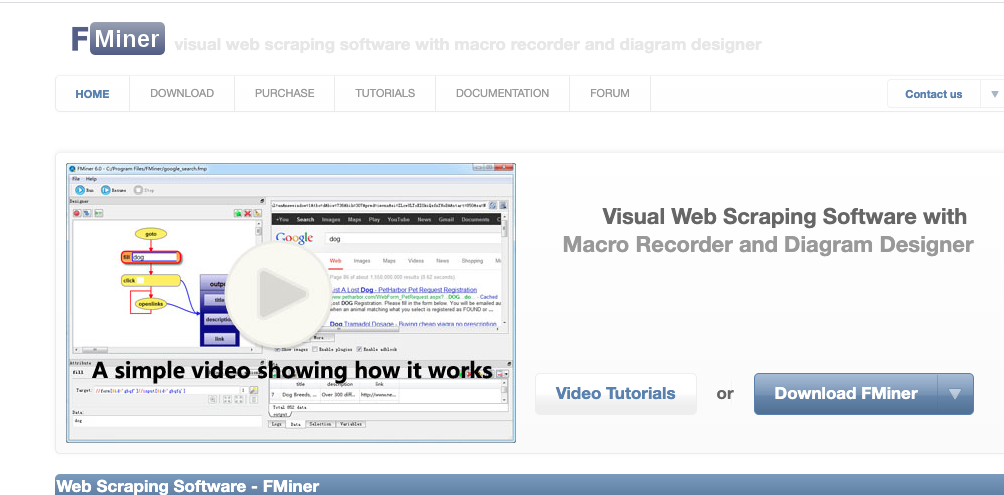 FMiner - web scrapping tool