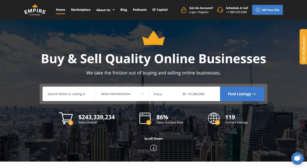 Empire flipper- best marketplaces to sell and buy online business