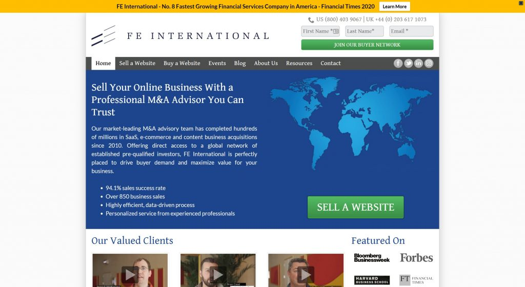 FE International- best places to sell online businesses