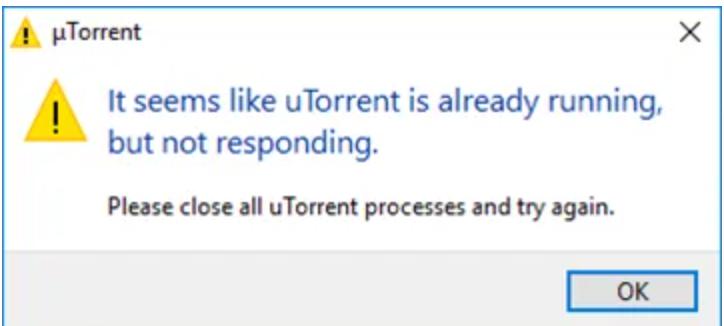 uTorrent not respondung overview