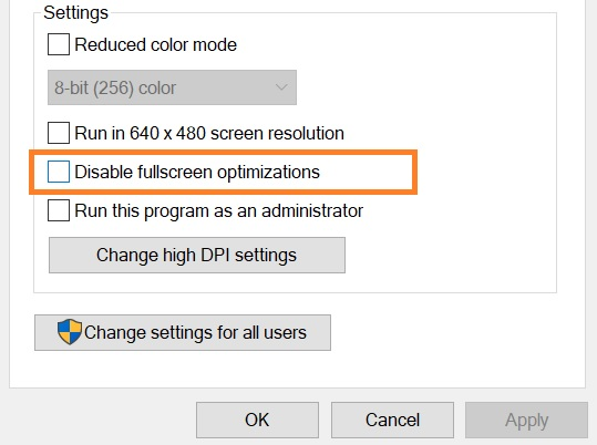 Disable full screen optimization- dragon age inquisition won't launch