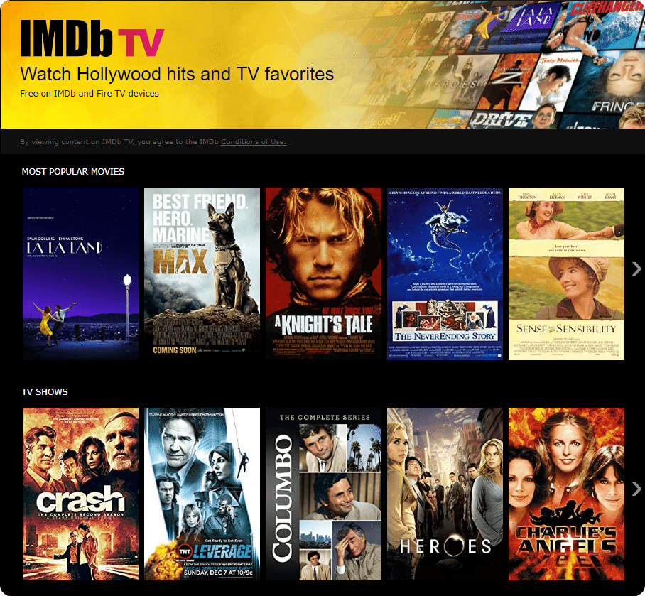 IMDb TV for watching movies- losmovies alternative