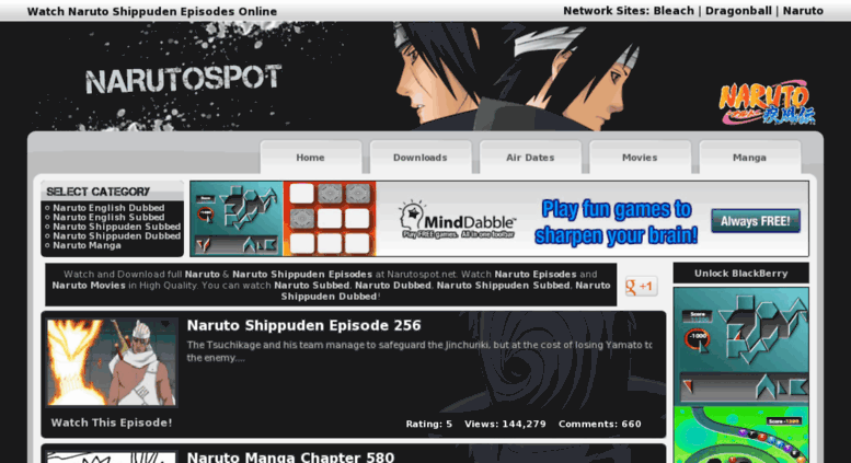 Naruto spot page