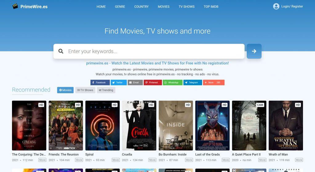 Primewire- best losMovies like sites